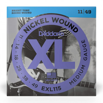 سیم گیتار الکتریک داداریو D'Addario EXL115 Nickel Wound Electric Strings 11-49 Medium/Blues-Jazz Rock