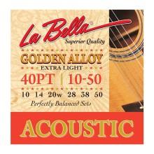 قیمت خرید فروش سیم گیتار آکوستیک لابلا La Bella Golden Alloy Acoustic Guitar Strings 40PT Extra Light 10-50