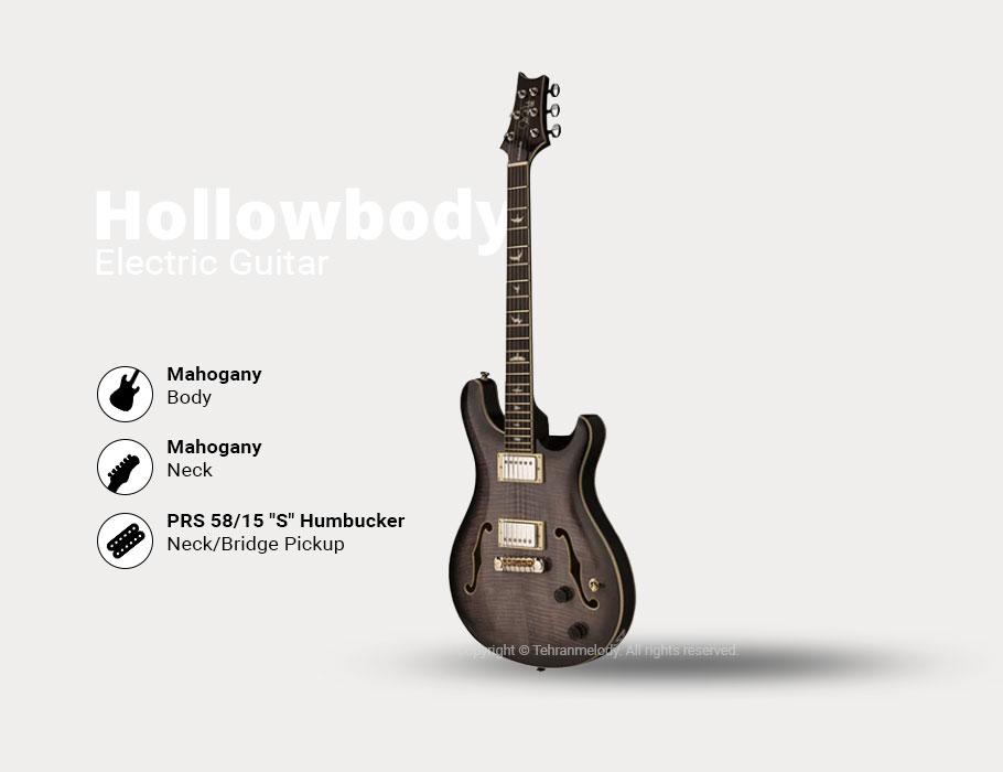 گیتار الکتریک PRS SE Hollowbody II Standard Charocal Burst